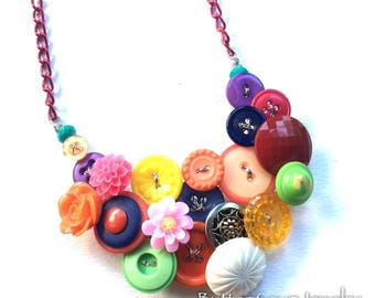 Funky Chunky Colorful Multicolor Mix Vintage Button Necklace