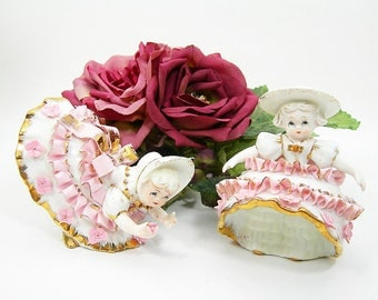 Bloomer Girls by Lefton - Porcelain Figurines - Set of 2 - Applied Pink Ruffles and Flowers on White Gowns - Gold Gilt Trim - Vintage 1960s