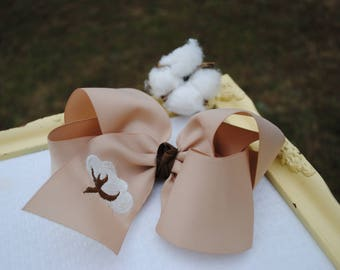 Cotton Boll Hair Bow - X Large Bow with Cotton Branch - Cotton Bow - Embroidered Hair Accessory - Fall Hairbow - Southern Bow - 6 Inch Bow
