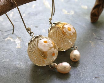 White Flower Murano Glass Earrings, Murano Glass and Pearl Sterling Earrings, White and Gold Wedding Earrings