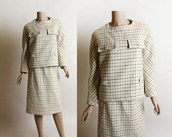 Vintage 1960s Pertegaz Suit - I. Magnin Spain Cream Neutral Plaid Wool Top and Skirt Set - Designer Winter Pleat Back Tunic Button Top