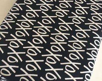 Black White Fabric, XOXO Fabric, Modern Fabric, Gift for Her, Fabric by the Yard, Yes Please XOXO in Black White - Choose the cut