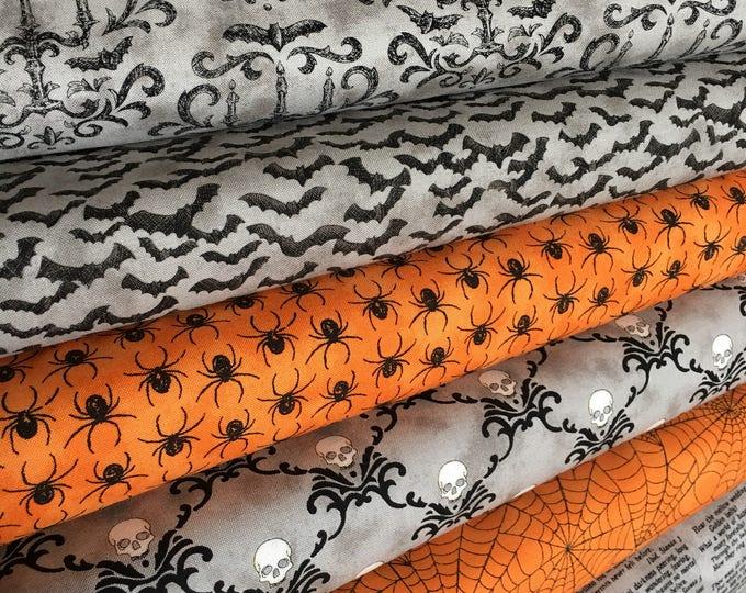 Halloween Fabric, Eerily Elegant, Deb Strain, Halloween Decor, Halloween Party, Spider, Fabricshoppe Bundle of 6, Choose your cut