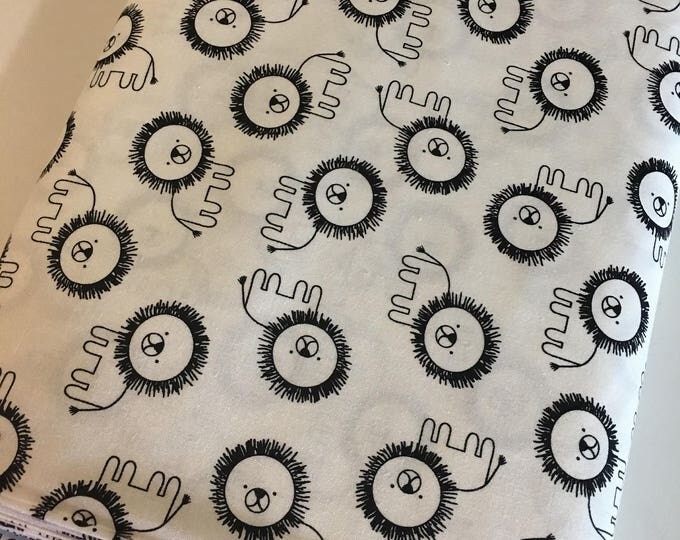 Penned Pals fabric, Black and White Nursery, Black White fabric, Lion Fabric in White, Choose your cut