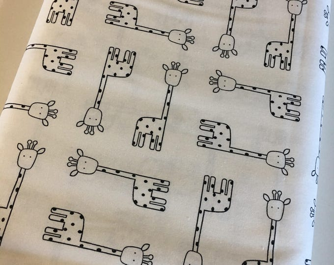 Penned Pals fabric, Black and White Nursery, Black White fabric, modern Nursery, Giraffe Fabric in White, Choose your cut