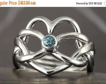 MATERNITY LEAVE SALE Aquamarine heart infinity Puzzle ring in sterling silver - Size 6 ready to ship