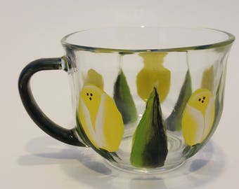 Hand Painted Yellow Tulip Glass Tea Cup