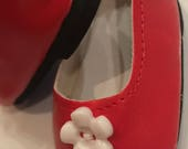 Girl Doll Shoes, Red Doll Shoes, 18 inch doll shoes, doll accessories, White flower button Shoes, Red ballet flats