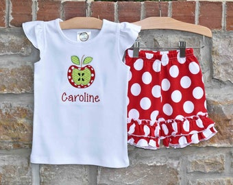 Apple Girls Personalized Monogram Back To School Outfit -  Back To School Apple Monogram Shirt and Ruffle Shorts- Julianne Originals