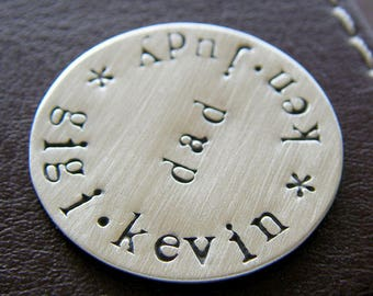 Custom Hand Stamped Golf Marker - Personalized Sterling Silver Keepsake Token - Perfect Gift for Father's Day