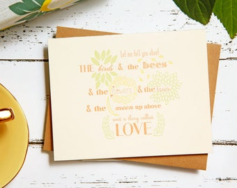 Birds and Bees New Baby Congratulations Letterpress Card