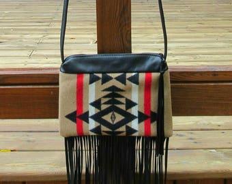 Fringed Cross Body Bag Purse Shoulder Black Leather Native American Print Wool from Pendleton Oregon
