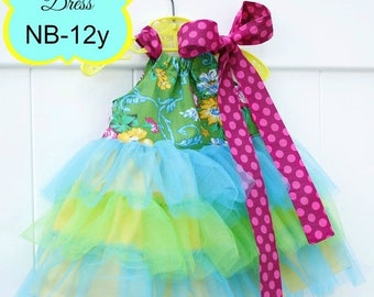 SALE PDF Sewing Pattern with tutorial to make cute Tulle Ruffle Dresses newborn-12 girls Instant