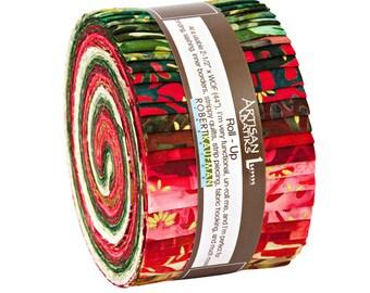 "Robert Kaufman NORTHWOODS BATIKS Roll Up 2.5"" Precut Fabric Quilting Strips Jelly Roll RU-671-40"