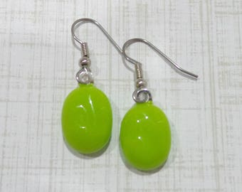 Bright Green Earrings, Lime Green Earrings, Green Dangle Earrings, Fused Glass Jewelry, Ready to Ship - Rollie  -7