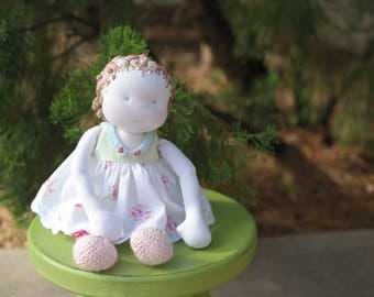 Delicate Rose Garden Waldorf Inspired Art Doll