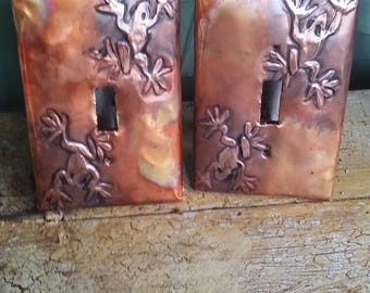 Frogs in Copper Switchplates
