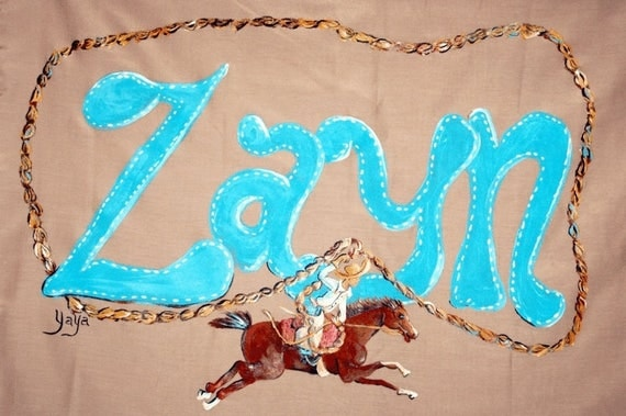 Personalized Hand Painted Little Cowboy Calf Roper Pillowcase