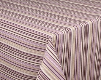 "SQUARE - Handmade Tablecloth - 68"" x 68"" - 170 cm x 170 cm  - LILAC STRIPES"