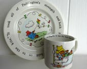 Paddington Bear Nursery Ware - Coalport - Mug and Plate Set - Childs Cup and Plate - Paddington and Co - Display Plate - Nursery Cup