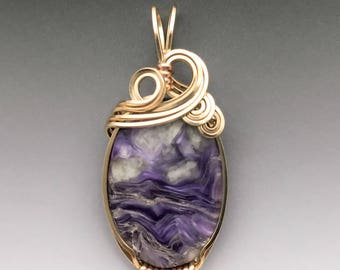Charoite Sterling 14k Yellow Gold-Filled Wire Wrapped Pendant - Ready to Ship!