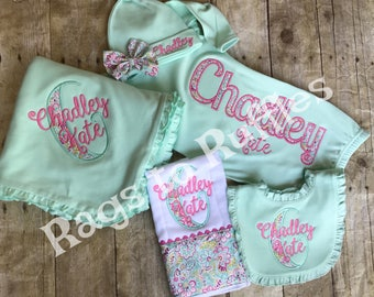 Baby Girl Coming Home Outfit- Infant Personalized Gown- Monogrammed Baby Gown-Monogrammed Baby Blanket- Monogrammed Baby Bib- Burp Cloth