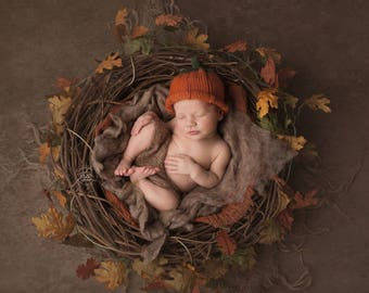 Pumpkin Hat - Sz  0-3 months -Adult Sizes - Ready to Ship