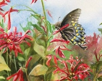 Butterfly Painting - Limited Edition Print - Floral Painting - Lobelia - Red Flowers - Butterfly Garden - Home Decor - Wall Art