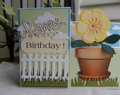 Handmade Birthday Card:  z box card, birthday, greeting card, flowers, fence, spring, summer, complete card, handmade, balsampondsdesign