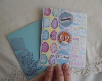 Handmade Easter Card: complete card, handmade, balsampondsdesign, bunny, handmade, yellow, green, blue, jelly beans