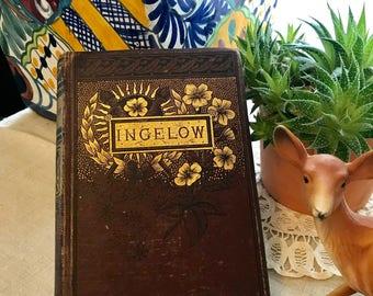 The Poetical Works of Jean Ingelow Antique OLD Book Hardback Book