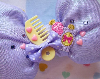 Iridescent sparkle bow, Barbie brush vanity perfume sweet lolita hair clip hairdresser gift gifts under 20
