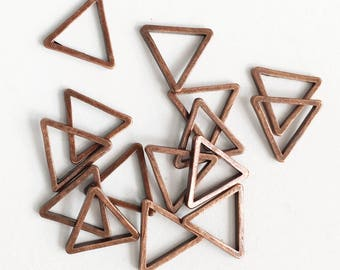 100pcs antique copper plated brass triangle links 8mm, bulk triangle linking ring, red bronze  triangle connector