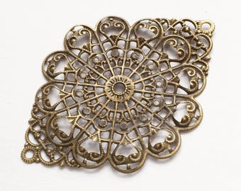 20 pcs of Antiqued brass oval filigree connector 38x52mm, antique bronze filigree focal