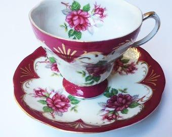 HB Diamond Porcelain, Vintage/Antique, tea cup and sacer,made in Japan