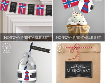INSTANT DOWNLOAD - NORWAY -  Missionary Farewell Welcome Home Decoration Printable Set for Elders