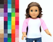 Fits like American Girl Doll Clothes - The Baseball Raglan Tee, You Choose Colors and Sleeve Length | 18 Inch Doll Clothes