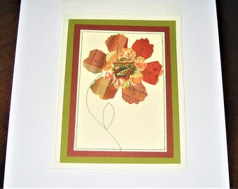 Greeting Card Mixed Media Olive Green Rust Flowers