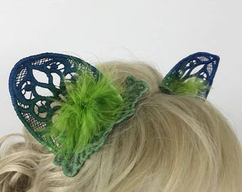 Blue to Green Ombre Hand-Dyed Cat Cosplay Ears - Ready to Ship!