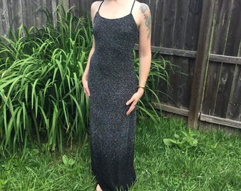 Black sparkle sheath dress vintage 1990s with tags sz 8