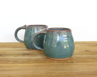 Stoneware Pottery Mugs, Sea Mist, Rustic Ceramic Mugs, Handmade Mugs, Rustic Kitchen - Set of 2