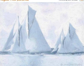 HUGE SUMMER SALE 40% off Canvas Giclee Print, Giclee Canvas Print, Nautical Art, Ships, Sailing Ships, Pearl Grey,  Expressionism Art,  Mode