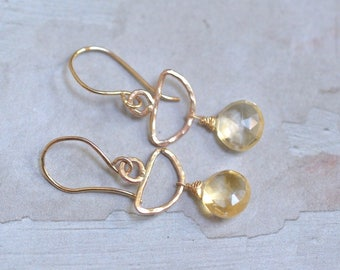 14kt Gold Citrine Earrings - Gold Half Moon Earrings - Citrine Dangle Earrings - Hammered Gold Earrings