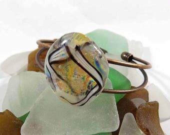 Dichroic Fused Glass Bracelet, Cuff Bracelet, Copper, Brass, Bronze