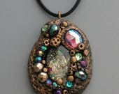 HALF OFF SALE Jeweled Pendant, Polymer Clay with Glass Beads and Vintage Cabochons, Boho Jewelry, Bohemian Rhapsody