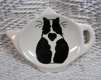 Black And White Cat Tea Bag Holder Handmade Ceramic by Grace M. Smith