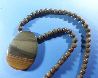 Beautiful Succor Creek Jasper Necklace with Woodgrain Jasper Beads ...18 inches