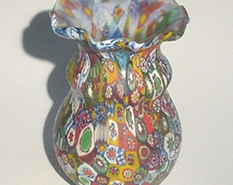 Millefiori Vase - Lovely Murano Millefiori Small Decorative Art Glass Vase