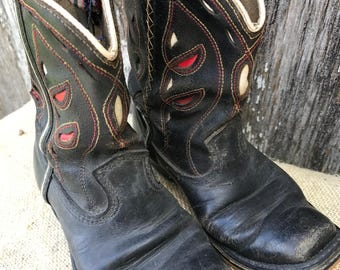 Vintage Well Loved Black, Red and White Kids Cowboy Boots