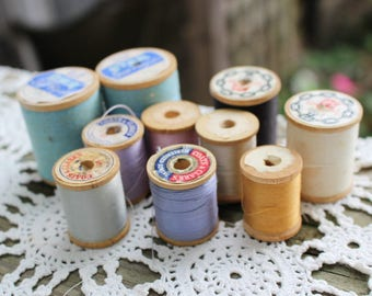 Lot of 10 Vintage Colorful Wooden Spools of Thread